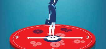 Businesswoman standing on clock